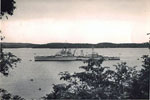 HMS Gambia off Steamer Point, Trincomalee, Ceylon, leaving for home 1955/56. Image from Keith Butler