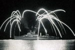 HMS Gambia giving a firework show, Zanzibar, June 1955. Image from Keith Butler