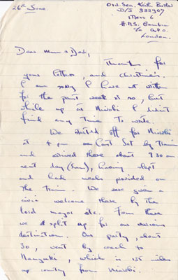 Keith Butler's letter home, June 1955