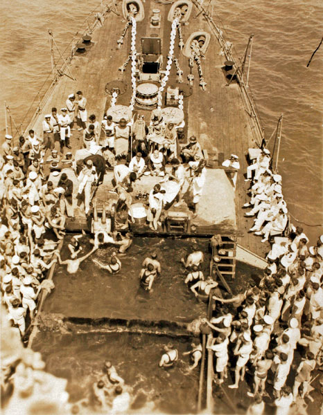 Hms Gambia C48 Equator Crossing The Line