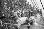 Crossing the line on a New Zealand troop transport ship around 1918. Photo by Rex Nan Kivell. National Library of Australia 149755518