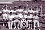 The Champions: Electrical Division Cricket Team. Front L to R: P.O. Elect:? Comdr Lock, C.E.A. Pete Sawyer, Mr Wannicott, E.A. Algy Longworth. Back Row L to R: E.M Harland, E.A. Alan Clements, E.M.? P.O. Elect Bruce? Acting P.O. Elect? E.A. Barry Partridge and E.M. Little. Photo from Alan Clements