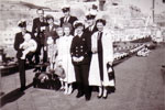 Open Day on HMS Gambia. O.A. Viv Say and new borm, Mr Wannicott, Connie Say, O.A. Bullen, Mary and Young Bullen, Wife and E.A. Algy Longworth, O.A. Hilton?, O.A. Hilton? O.A. Boydels wife. Photo from Alan Clements