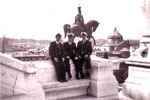 Electrical Artificer Alan Clements with Ordnance Artificers Hilton and Sturges on The King Victor Emmanuel Monument, Rome. Photo from Alan Clements