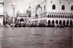 Gondolas moored at St. Mark's Square, Venice, 1950. Photo from Alan Clements