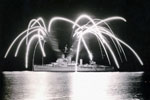 HMS Gambia giving a firework show, Zanzibar, June 1955. Photo kindly submitted by Janet Kirkham, niece of sick berth attendant Ken Griffin