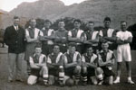 HMS Gambia's soccer team in Mauritius, 1955. Photo kindly submitted by Janet Kirkham, niece of sick berth attendant Ken Griffin