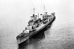 HMS Birmingham, a Southampton class cruiser sometime between November 1944 and June 1945. Imperial War Museums A 30321