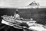 HMS Centaur approaches Gibraltar in June 1961. She was commissioned on September 1, 1953 and decommissioned on August 11, !972. Imperial War Museum A 34458