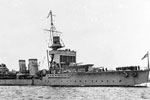 HMS Dragon, a Danae class cruiser, was built in December 1917 and scuttled near France in July 1944. Imperial War Museums Q 75345