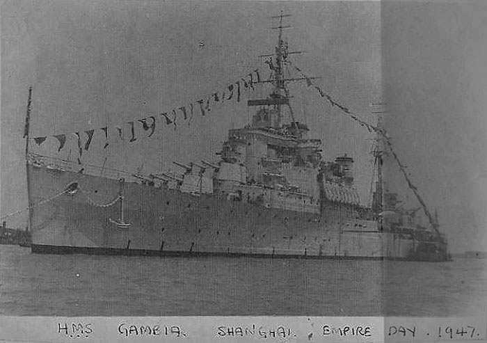 HMS Gambia on Empire Day, 1947