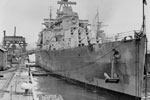 HMS Gambia at Devonport Dockyard, probably after WWII