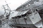 HMS Gambia in drydock at Rosyth. No date. HMS Gambia Association