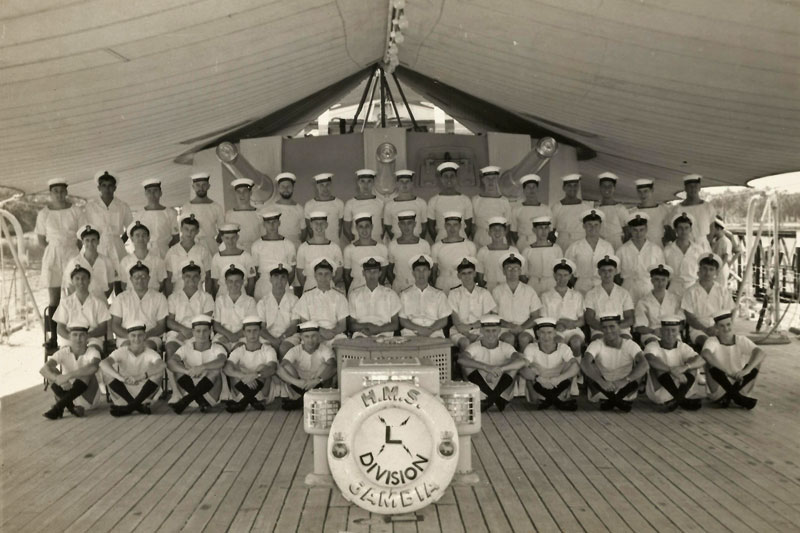 """L"" Division of HMS Gambia on January 31, 1956. Photo kindly submitted by Andrew Lobb"