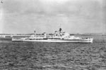 HMS Gambia arriving at Spithead on June 8, 1953 for the Coronation Naval Review. She is wearing the flag of Rear Admiral C F W Norris, DSO, Flag Officer Flotillas, Mediterranean. Imperial War Museum A 32571