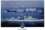 Postcard of HMS Gambia at Venice in 1951. This was provided by Tom Swatton who served on the the 1952/54 commission.