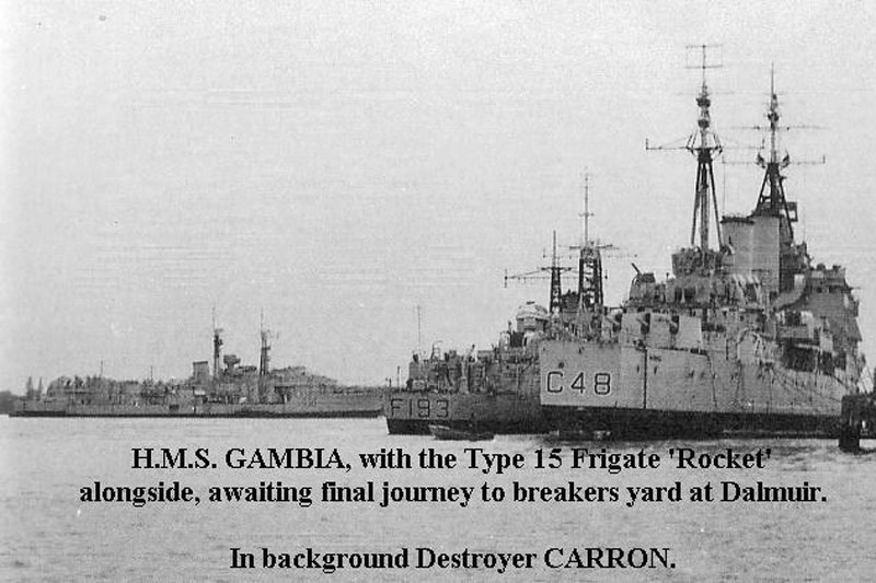 HMS Gambia awaing breakers yard