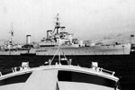 HMS Gambia from motor boat, 1951. Dad's photo albums