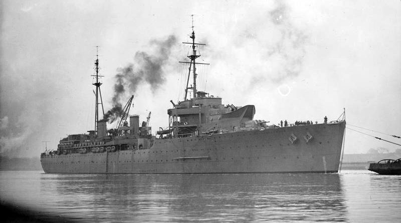 HMS Hecla under tow in WWII