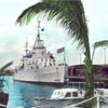 HMS Jamaica at Trincomalee, Ceylon in 1952. This is a colorized version of the previous photo. Unfortunately I do not know anything about either of them.