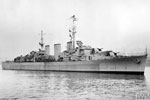 HMS Manxman, May - June 1945. She was an Abdiel class minelayer launched in 1940, converted to a minesweeper support ship in 1963, and sold for breaking up in 1972. Imperial War Museums A 29617