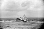 HMS Newcastle on Madagascar operations. The covering force left Colombo on April 24, 1942, put into the Seychelles on May 1. The fleet air arm carried out extensive searches and patrols over a wide area during the operation. The covering force then put into Mombasa on May 10 after the operation was concluded. Photo: Lt. D. C. Ouids. Imperial War Museums A 9063