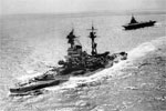 HMS Resolution and HMS Formidable of the Eastern Fleet sailing in the Indian Ocean during WWII. Photo: Lt. S. C. Oulds. Imperial War Museums A 11792
