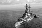 HMS Resolution at anchor during WWII. Imperial War Museums FL 18214