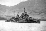 HMS Trinidad in 1942 at Hvalfjord, Iceland. Built by Devonport Dockyard. Laid down April 21, 1938. launched March 21, 1940. Completed November 14, 1941. Scuttled May 15, 1942 after being damaged the previous day by torpedoes from German aircraft in the Barents Sea, 63 lost. Imperial War Museums A7683