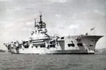 HMS Unicorn, an aircraft repair ship and light aircraft carrier off singapore in 1949. Photo from Alexander Greaves, Arthur's grandson