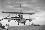 A Supermarine Walrus amphibious aircraft being hoisted on board HMS Warspite after a sweep in the Indian Ocean. One of the aircraft's crew is standing on the top wing. An Illustrious class aircraft carrier can be seen moored in the background. Alongside her is another vessel, possibly a hospital ship, and HMS Ludlow. A cruiser is moored aft of these vessels and a motor cutter is making its way from this group of ships towards the camera. Photo: Lt. D. C. Ouids. Imperial War Museums A 10648