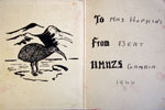 The inside of the 1944 Christmas card sent to Mrs Hopkins in Western Australia. Photo kindly supplied by Terry Criag.