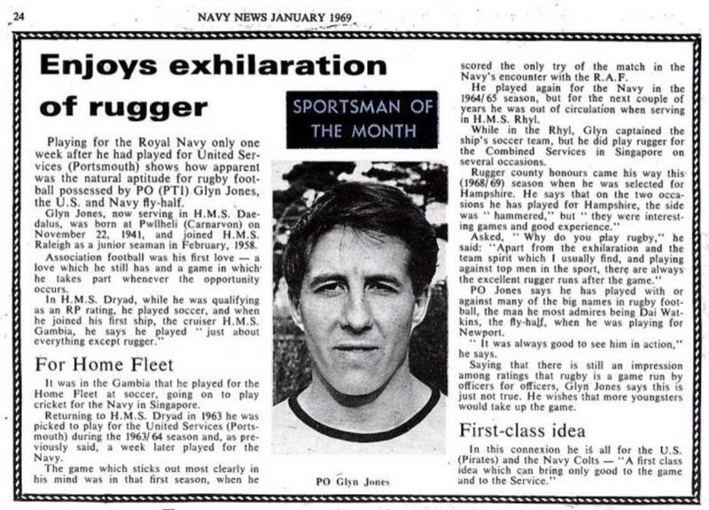 "Glyn Jones named ""Sportsman of the Month"""