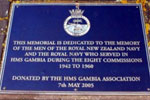 NMA HMS Gambia memorial plaque