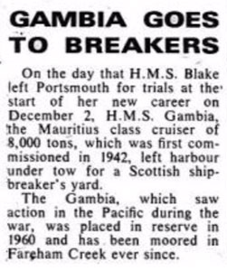 Notice of HMS Gambia's scrapping