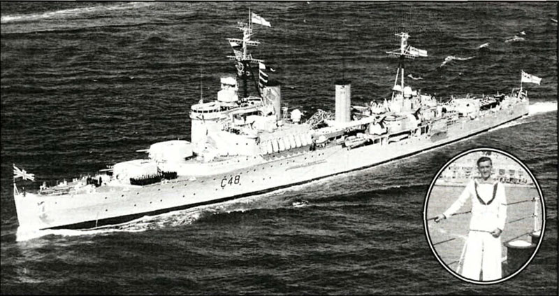 First Ashore: HMS Gambia brought humanitarian aid to the Green island of Zakynthos, devastated by an earthquake in 1953. Inset: Les Newman was there - and back again 50 years on Quake relief
