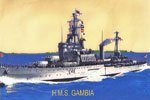 A postcard of HMS Gambia. Photo kindly provided by Royal Marine William Purdy's son, Garry
