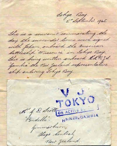 George Douglas Scott's VJ souvenir letter and envelope