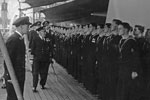 Inspection by C in C, Admiral Burnett, HMS Gambia, April 29, 1950 at Devonport. Photo from my dad's albums.