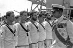 King Paul of the Hellenes inspecting the ships Stokers Division in Athens, Greece in September, 1950. Photo from my dad's albums.