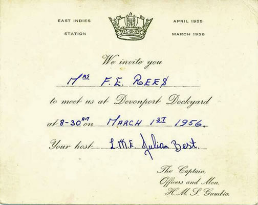Homecoming invite to Mrs. Rees, 1956