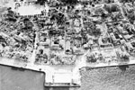 Air view showing the damage to the town of Argostoli, August 1953. Image from Imperial War Museums, A32638