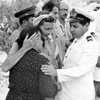 Lady Mountbatten with a Greek Lieut Cdr N Navrojannis of NATO at Malta, who is also an inhabitant of Cephalonia, comforting the inhabitants in distress, August 1953. Image from Imperial War Museums, A32640