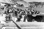 Inhabitants of Cephalonia awaiting evacuation on the Sea front, August 1953. Image from Imperial War Museums, A32643