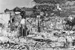 Devastation in the town of Zante on the Island of Cephalonia following the earthquake, August 1953. Image from Imperial War Museums, A32644
