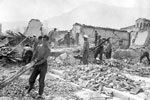 Men of the Royal Navy and Marines working in the areas devastated by the earthquake, August 1953. Image from Imperial War Museums, A32663