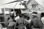 Air rescue help for some of the islanders, August 1953. Image from Stan Coulding